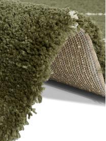Hoogpolig vloerkleed Desso in groen met grafisch patroon, 100% polypropyleen, Bosgroen, crèmekleurig, B 80 x L 150 cm (maat XS)