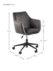 Krzesło biurowe z aksamitu Nora, obrotowe, Tapicerka: poliester (aksamit) 2500, Stelaż: metal malowany proszkowo, Ciemnyszary, czarny, S 58 x G 58 cm