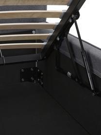 Polsterbett Dream mit Stauraum in Dunkelgrau, Korpus: Massives Kiefernholz und , Bezug: 100% Polyester (Strukturs, Webstoff Dunkelgrau, 180 x 200 cm