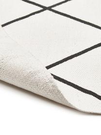 Flachgewebter Baumwollteppich Farah mit Rautenmuster, 100% Baumwolle, Cremeweiß, Schwarz, B 70 x L 140 cm (Größe XS)