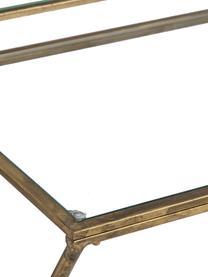 Glazen bureau Granada met antieke afwerking, Frame: gecoat metaal, Tafelblad: veiligheidsglas, Messingkleurig met antieke afwerking, transparant, B 95 x D 42 cm