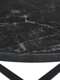 Ronde eettafel Amble met tafelblad in marmerlook, Tafelblad: MDF, melamine bekleed, Zwart, Ø 110 x H 75 cm