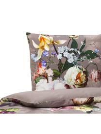 Baumwollsatin-Bettwäsche Fleur mit Blumen-Muster, Webart: Satin Fadendichte 209 TC,, Taupe, Mehrfarbig (Weiß, Grün, Gelb), 135 x 200 cm + 1 Kissen 80 x 80 cm