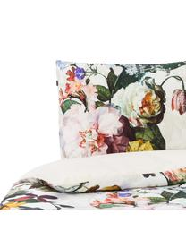 Katoenen dekbedovertrek Fleur, Gebroken wit, 140 x 220 cm