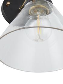 Wandleuchte New York Loft No.1, Lampenschirm: Glas, Gestell: Messing, Schwarz, Messing, Transparent, 19 x 29 cm