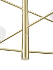 Große Pendelleuchte Unique mit Glaskugeln, Baldachin: Metall, vermessingt, Goldfarben, Ø 60 x H 54 cm