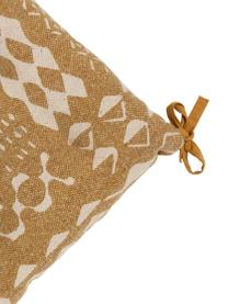 Boho-SitzkissenBoa in Senfgelb/Weiß, 100% Baumwolle, Gelb, Weiß, 40 x 4 cm