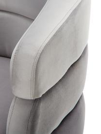 Poltrona in velluto in design retrò  Sandwich, Rivestimento: velluto di poliestere, Gambe: metallo rivestito, Velluto grigio, Larg. 65 x Prof. 64 cm