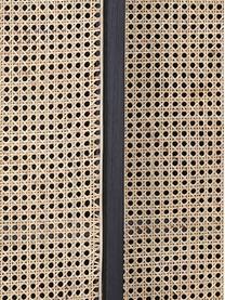 Credenza con intreccio viennese e ante Retro, Piedini: metallo rivestito, Maniglie: ottone, Beige, nero, Larg. 95 x Alt. 140 cm