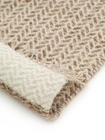 Handgewebter Wollläufer Kim in Beige/Creme, mit Fransen, 80% Wolle, 20% Baumwolle  Bei Wollteppichen können sich in den ersten Wochen der Nutzung Fasern lösen, dies reduziert sich durch den täglichen Gebrauch und die Flusenbildung geht zurück., Beige, Creme, 70 x 200 cm