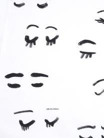 Designer Baumwollperkal-Bettwäsche Lashes von Kera Till, Webart: Perkal Fadendichte 180 TC, Weiß, Schwarz, 240 x 220 cm + 2 Kissen 80 x 80 cm