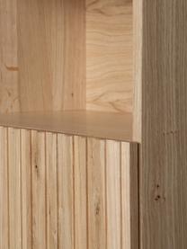 Eichenholz Standregal Gravure mit  Stauraum, Korpus: Eichenholz, massiv, lacki, Füße: Metall, lackiert, Einlegeböden: Sperrholz, laminiert, Eichenholz, 100 x 200 cm