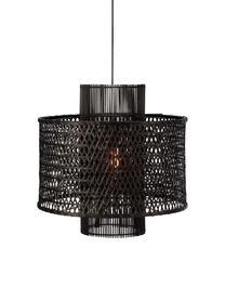 Lampa wisząca z rattanu Ambon, Czarny, Ø 50 x W 50 cm
