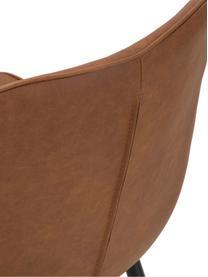 Imitatieleren gestoffeerde stoelen Louis, 2 stuks, Bekleding: imitatieleer (65% polyeth, Poten: gepoedercoat metaal, Cognackleurig, 44 x 58 cm