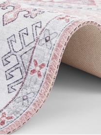Chodnik w stylu vintage Gratia, 100% poliester, Brudny różowy, szary, S 200 x D 290 cm (Rozmiar L)