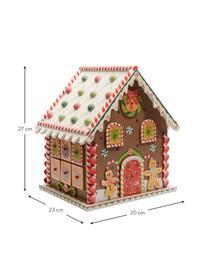 Calendario dell'avvento House, alt. 27 cm, Pannello di fibra a media densità rivestito, Marrone, multicolore, Larg. 23 x Alt. 27 cm