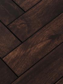Massivholz Esstisch Luca mit Fischgrätmuster, Tischplatte: Massives Mangoholz, lacki, Gestell: Metall, beschichtet, Tischplatte: Mangoholz, dunkel lackiertGestell: Goldfarben, B 180 x T 90 cm