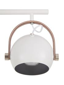 Skandi-Deckenstrahler Bow, Baldachin: Metall, lackiert, Dekor: Kunstleder, Weiß, 76 x 28 cm