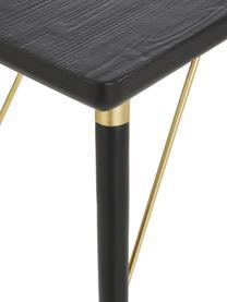 Console avec éléments couleur dorée Jana, Noir, couleur dorée