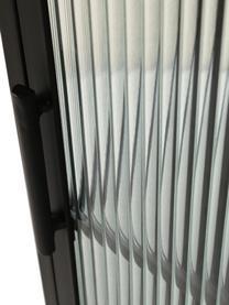 Vitrinekast Markus met gegroefd glas en metalen frame, zwart, Frame: gecoat metaal, Zwart, transparant, 66 x 112 cm