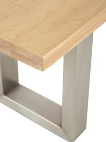 Sitzbank Oliver aus Eichenholz, Sitzfläche: Wildeichenlamellen, massi, Beine: Metall, lackiert, Wildeiche, Edelstahl, 160 x 45 cm
