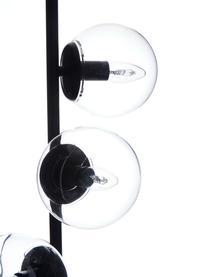 Industriële vloerlamp Casey van glas, Lampvoet: gepoedercoat metaal, Zwart, Ø 40 x H 170 cm