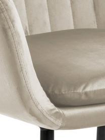 Sedia imbottita in velluto Emilia, Rivestimento: velluto di poliestere Con, Gambe: metallo laccato, Beige, nero, Larg. 57 x Prof. 59 cm