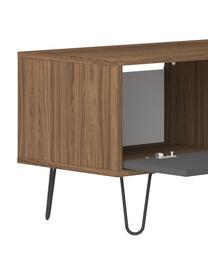 Mobile TV basso con anta a ribalta Aero, Piedini: metallo verniciato, Grigio, albero di noce, Larg. 165 x Alt. 44 cm