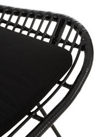 Fauteuil Costa met polyrotan, Zitvlak: polyethyleen-vlechtwerk, Frame: gepoedercoat metaal, Zwart, B 90 x D 89 cm