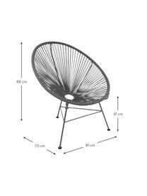 Loungefauteuil Bahia van kunststoffen vlechtwerk, Zitvlak: kunststof, Frame: gepoedercoat metaal, Grijs, B 81 x D 73 cm
