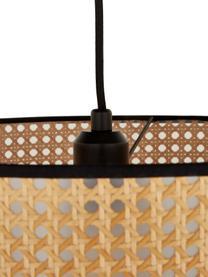 Hanglamp Vienna van Weens vlechtwerk, Lampenkap: kunststof, Baldakijn: gepoedercoat metaal, Lampenkap: beige, zwart. Baldakijn: mat zwart. Snoer: zwart, Ø 40  x H 30 cm