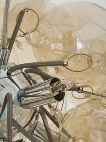 Glaskugel Pendelleuchte Gross, Baldachin: Nickel, verchromt, Bernsteinfarben, Ø 50 cm