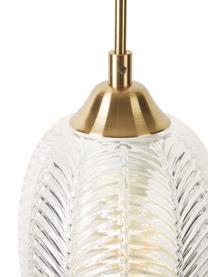 Malé závěsné svítidlo ze saténového skla Vario, Mosazná, transparentní