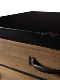 Schubladenkommode Sol im Industrial Design, Korpus: Mitteldichte Holzfaserpla, Schwarz, Pinienholz, 55 x 80 cm