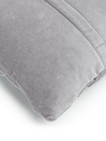 Samt-Kissenhülle Sina in Dunkelgrau mit Strukturmuster, Samt (100% Baumwolle), Grau, 30 x 50 cm