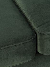 Samt-Sofa Alva (2-Sitzer) in Grün mit Holz-Füßen, Bezug: Samt (Hochwertiger Polyes, Gestell: Massives Kiefernholz, Füße: Massives Buchenholz, gebe, Samt Olive, B 184 x T 92 cm