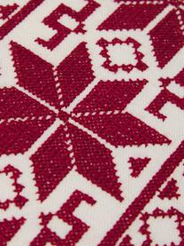 Bestickte Kissenhülle Orkney mit Norweger-Muster, 100% Baumwolle, Rot, Cremeweiß, 45 x 45 cm
