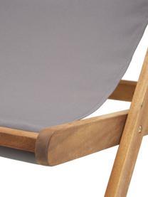Inklapbare ligstoel Zoe, Frame: massief geolied acaciahou, Grijs, B 59 x D 91 cm