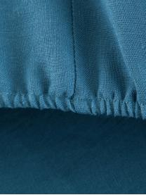 Lenzuolo con angoli in lino Soffio, Petrolio, Larg. 180 x Lung. 200 cm