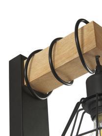Applique industrial Townshend, Paralume: metallo rivestito, Struttura: legno, Nero, legno naturale, Larg. 14 x Alt. 25 cm