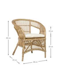 Krzesło z rattanu z poduszką siedziska Consuelo, Beżowy, S 68 x W 82 cm