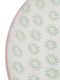 Handbemalte Speiseteller Patrizia mit verspieltem Muster, 3er-Set, Steingut, Weiß, Grün, Rot, Blau, Ø 25 cm
