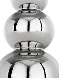Keramik-Tischlampe Regina in Silber, Lampenschirm: Textil, Lampenfuß: Keramik, Taupe, Chrom, Ø 25 x H 49 cm