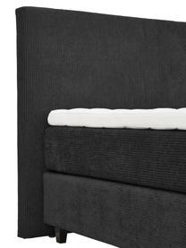 Letto Boxspring in velluto a coste grigio scuro con contenitore Eliza, Materasso: nucleo a 5 zone di molle , Piedini: legno di betulla massicci, Velluto grigio scuro, 200 x 200 cm