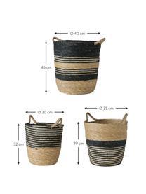 Handgefertigtes Aufbewahrungskörbe-Set Ryka, 3-tlg., Grasbaumfasern, Schwarz, Beige, Set mit verschiedenen Grössen