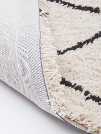 Flauschiger Hochflor-Läufer Naima, handgetuftet, Flor: 100% Polyester, Beige, Schwarz, 80 x 300 cm