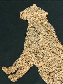 Cuscino con imbottitura in velluto Single Leopard, 100% velluto (poliestere), Verde, dorato, Larg. 40 x Lung. 55 cm