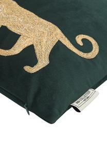 Besticktes Samt-Kissen Single Leopard in Grün/Gold, mit Inlett, 100% Samt (Polyester), Grün, Goldfarben, 40 x 55 cm
