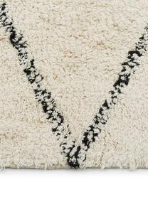 Handgetufteter Boho-Baumwollläufer Asisa mit Zickzack-Muster und Fransen, 100% Baumwolle, Beige, Schwarz, 80 x 250 cm