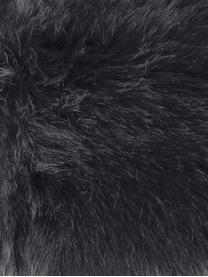 Runde Kunstfell-Sitzauflage Mathilde, glatt, Vorderseite: 65% Akryl, 35% Polyester, Rückseite: 100% Polyester, Dunkelgrau, Ø 37 cm